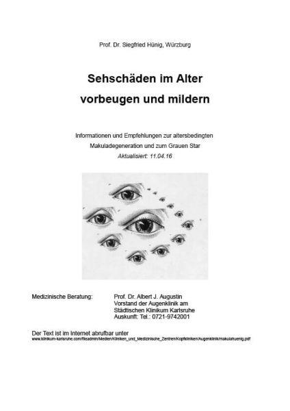 """Broschüre """"Sehschäden im Alter vorbeugen und mildern"""""""